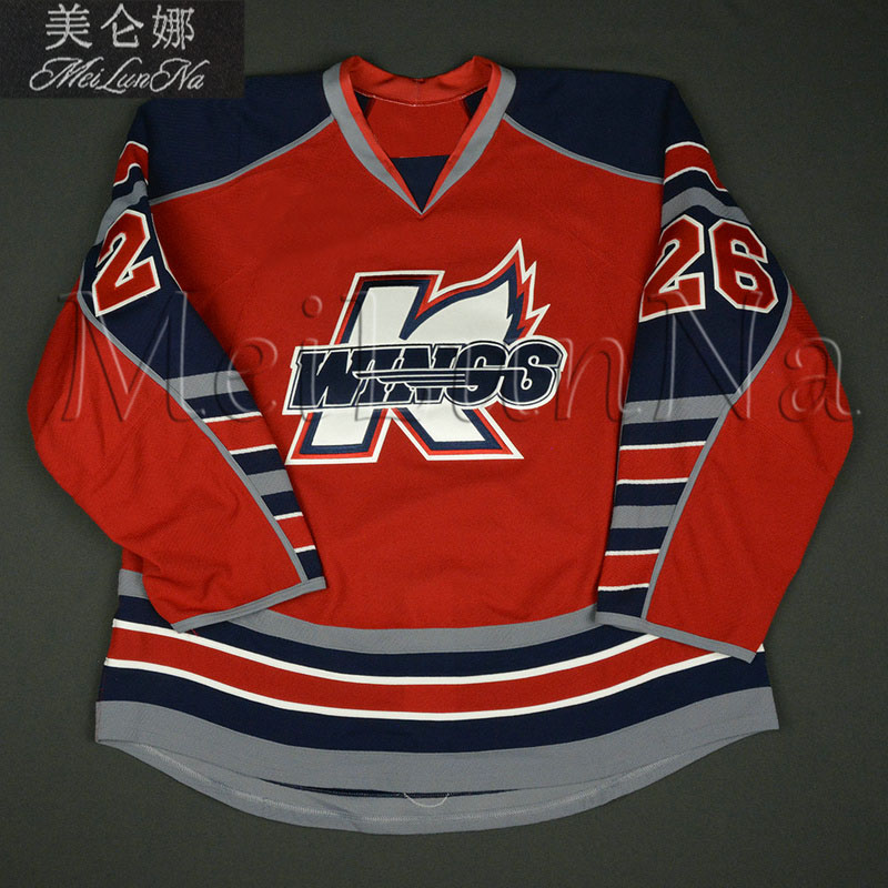 MeiLunNa Custom IHL ECHL Kalamazoo Wings Hockey Jerseys 22 Mike Wanchuk Kory Karlander Joel Martin Sewn On Any Name NO. Size