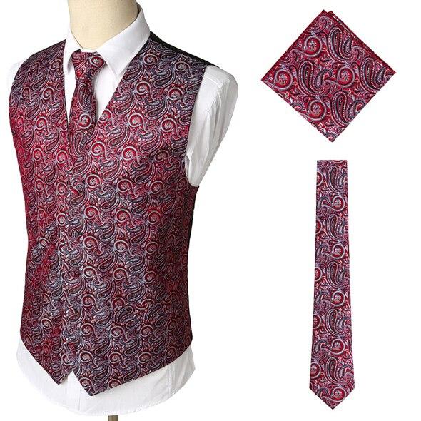 Мужские Классические Вечерние жаккардовые жилеты в клетку с узором пейсли и цветочным принтом, 3 предмета в комплекте(жилет с квадратным карманом и галстуком - Цвет: Wine Red