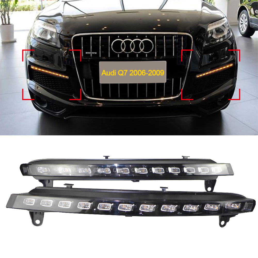 Car DRL Kit for audi Q7 2006-2009 LED Daytime Running Light Bar turn signal auto fog lamp daylight for car led drl light 12v  винный шкаф liebherr wtb 4212 20 001 black