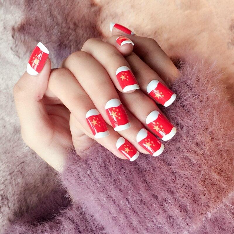 Aliexpress Buy 24pcs Red False Nails Tips Chinese Flag Nails