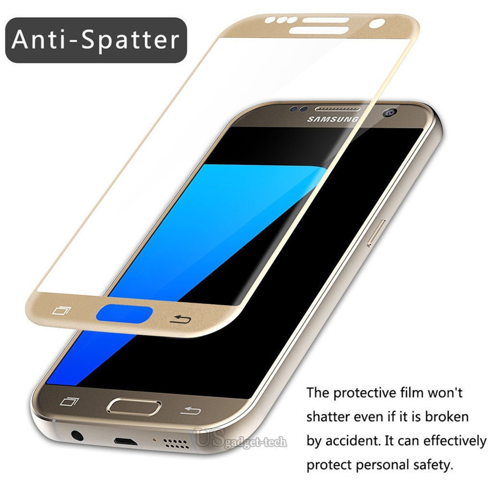 For Samsung Galaxy S7 S7 Edge Gold Tempered Glass Clear Hard Screen Protector Super Full Cover Slim