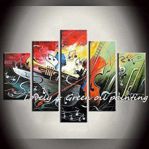 Pas encadré peint à la main 5 pièce peinture à l'huile abstraite instrument de musique papillon mur art décoration de la maison livraison gratuite