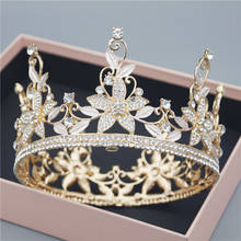 Bridal Crown Flower Headdress Rhinestone Tiaras and Crowns Wedding Hair Jewelry Accessories Baroque Queen King Bride Headpiece(China)