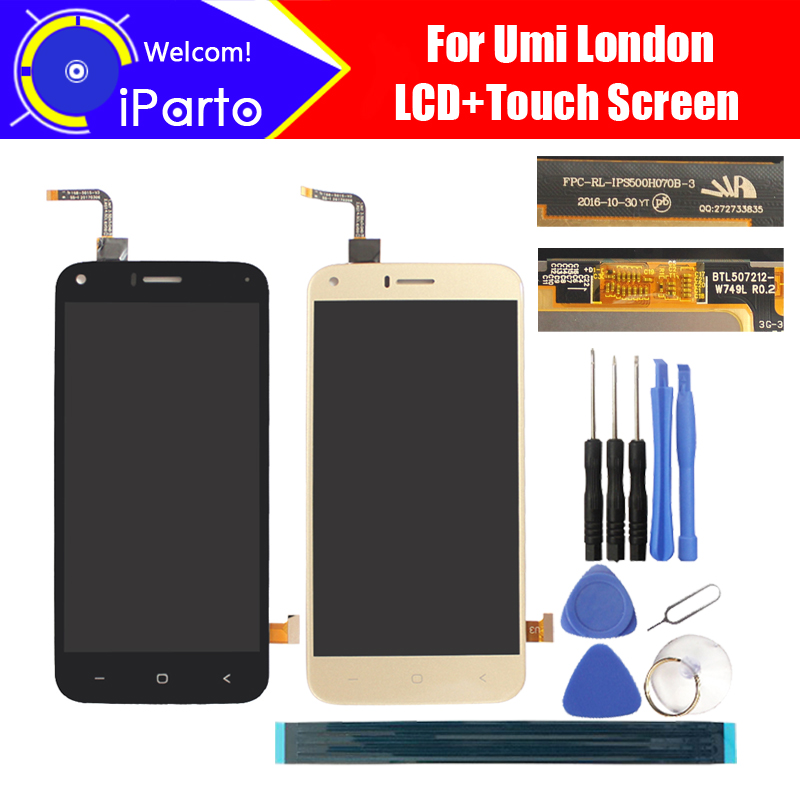 Umi London LCD Display+Touch Screen Digitizer 100% Original Tested LCD Screen Glass Panel  For London FPC-RL-IPS500H070B-3