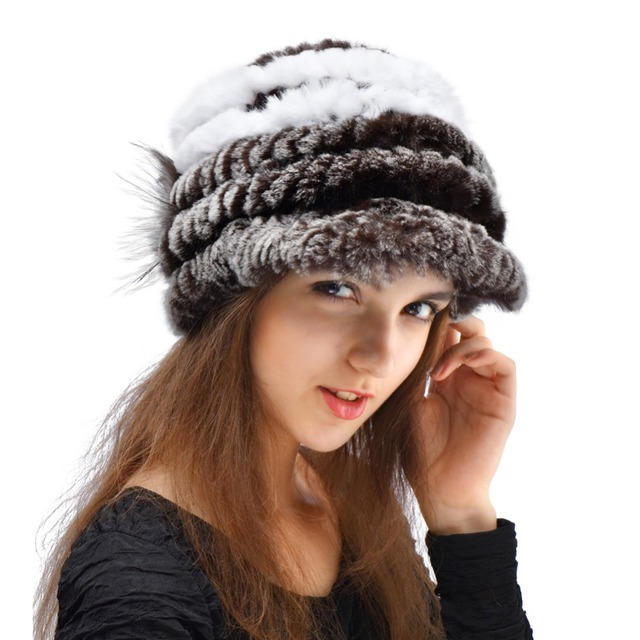 Women Fur Hats Winter Warm Soft 8 Colors Knitted Real Rex Rabbit Fur Beanies Fur Hat With Flower Free Size Winter Fur Caps YH121