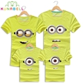 High Quality Cotton Minions Family Matching T Shirt Female Male Shirt Kids Children Short Sleeves Matching Clothes Outfit Tees