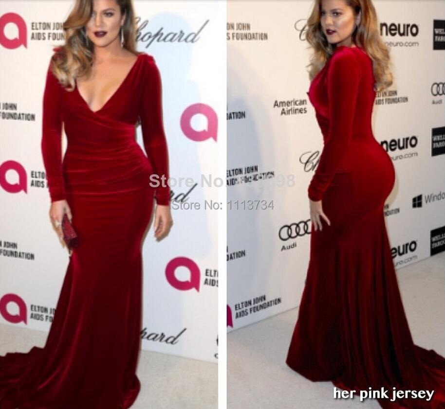 adecf339a4 2015 Evening Dresses Khloe Kardashian 2014 Oscar Party Sexy Wine Red ...