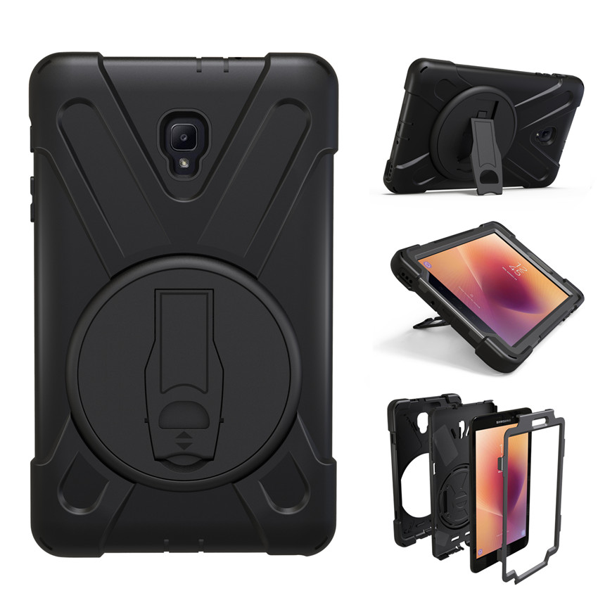 Case for Samsung Galaxy Tab A 8.0 2017 SM-T380 T380 T385 tablet Heavy Duty Silicone Hard Cover with Wrist strap and stand holder heavy duty silicone hard case cover protector stand tablet for samsung galaxy tab a a6 10 1 2016 t585 t580 sm t580 stylus