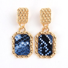 Europe and the United States snakeskin leopard grain alloy fashion earrings