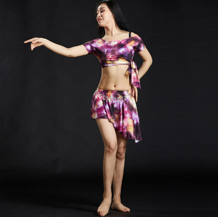 Adult Oriental Belly Dance Costume Suit Set T Shirt Top Skirt For Women Eastern Bellydance Belly Dancing Clothes Dancer Clothing