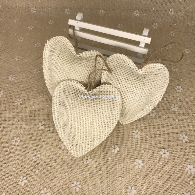 5pcs Jute Burlap Hessian Decorative Heart Shapes Craft With String  Embellishments Craft Home Decor Jute Heart
