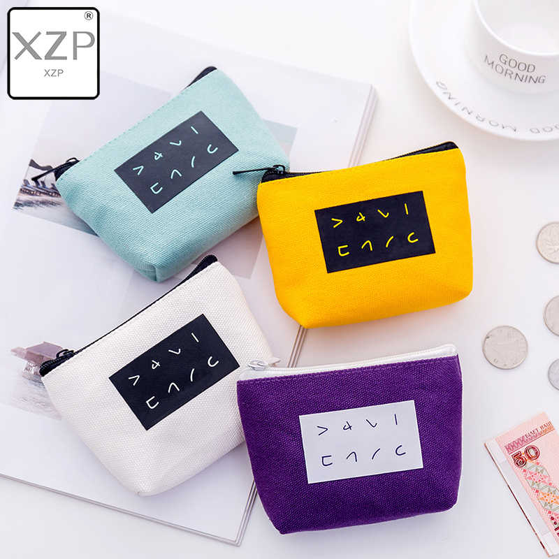 XZP Cute Japanese Letter Printed Pouch Small Canvas Coin Bag Change Purse Women Wallet Coin Zipper Bag Stationery Card Holders