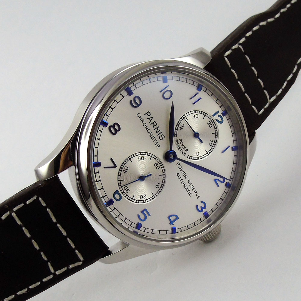 43mm parnis silver White dial Power Reserve Chronograph Blue Marks SS Case Seagull 2542 Automatic Mechanical men's Watch hot sale 46mm parnis black dial power reserve white marks automatic men wrist watch
