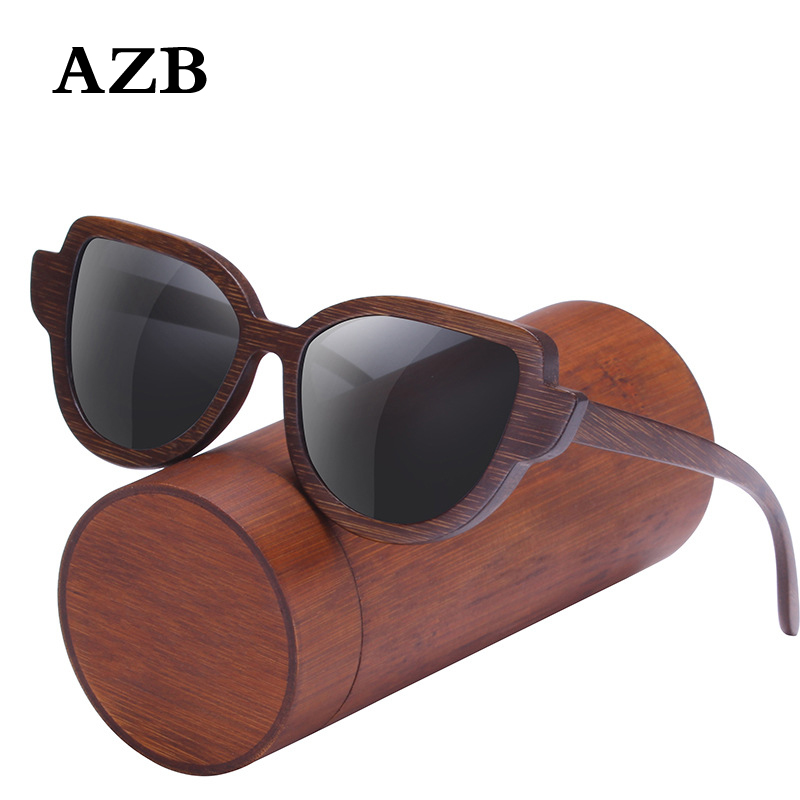 AZB Wood Sunglasses Men Women 2018 sol polarizadas de moda de madera de bambu gafas de sol
