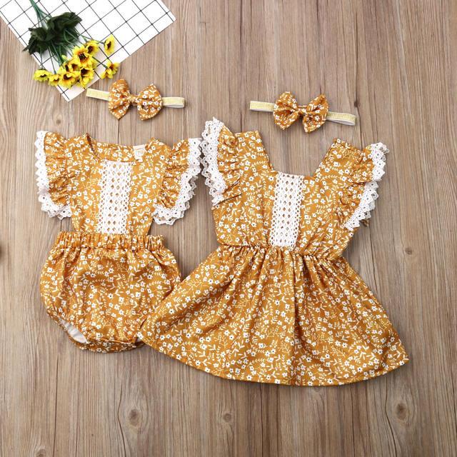 Vestido estampado de flores con diadema a juego