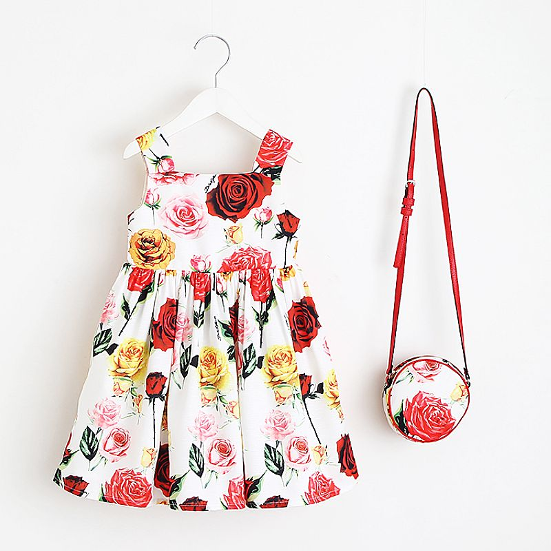 Toddler Girls Dresses with Bag 2018 Brand Baby Girl Summer Dress Kids Clothes Floral Princess Dress Children Clothing Vestidos new girls dress brand summer clothes ice cream print costumes sleeveless kids clothing cute children vest dress princess dress