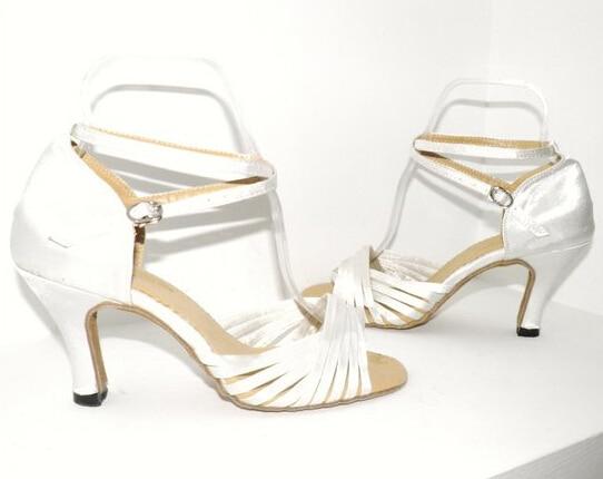 Nove žene Bijela Saten Vjenčanje Plesne cipele Ballroom Salsa Latin Tango Bachata Plesne cipele za ples