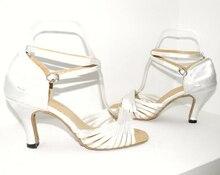 New Women White Satin Wedding Dance Shoes Ballroom Salsa Latin Tango Bachata Dancing Dance Shoes