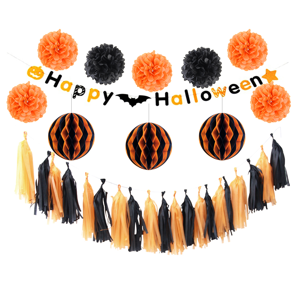 sunbeauty 12pcs halloween decorations diy party decoration honeycomb ball decor pom poms party supplier happy halloween - Halloween Decorations Diy Party