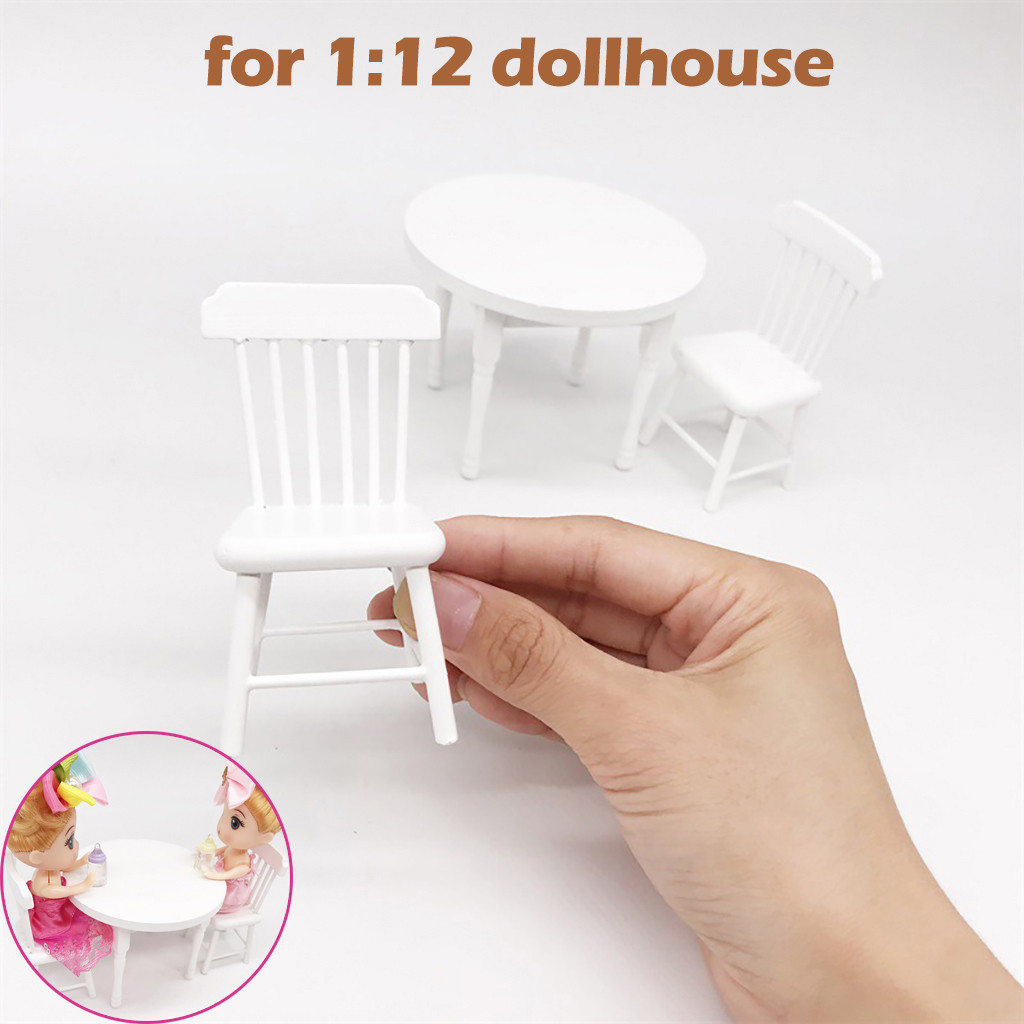 Diy 1:12 Dollhous Furniture White Color Round Dining Table Chair Set Mini furniture white round dining table and chair set of 3