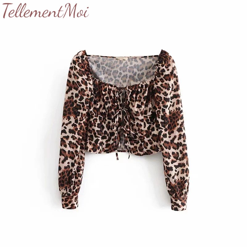 Long Night Tops 2019 Blouses Sexy Beach Club New Party Square Vintage Fashion Out Collar Leopard Short Sleeve Shirt Women Ladies 8qR4F4