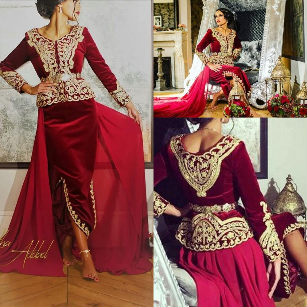 Caftan Karakou Algerien Prom Formal Dresses With Long Sleeve 2019 Burgundy Velvet Gold Lace Peplum Occasion Evening Gown Wear