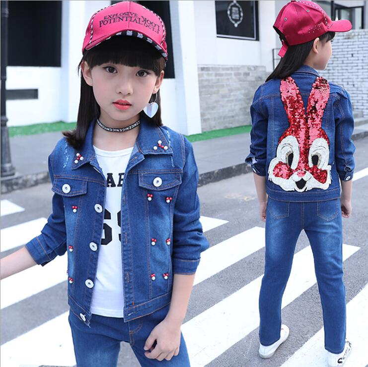 2018 Girl Denim Suit Spring Autumn Hot Children Suit Girls Cotton cartoon Denim Jacket +T-shirt+pants 3pcs set 4-13years free shipping children clothing spring girl three dimensional embroidery 100% cotton suit long sleeve t shirt pants