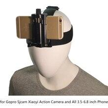 Suporte de banda de cabeça ao ar livre para o telefone celular na correia do chicote de fios suporte de clipe de tripé para em vez gopro xiaoyi câmera iphone 6