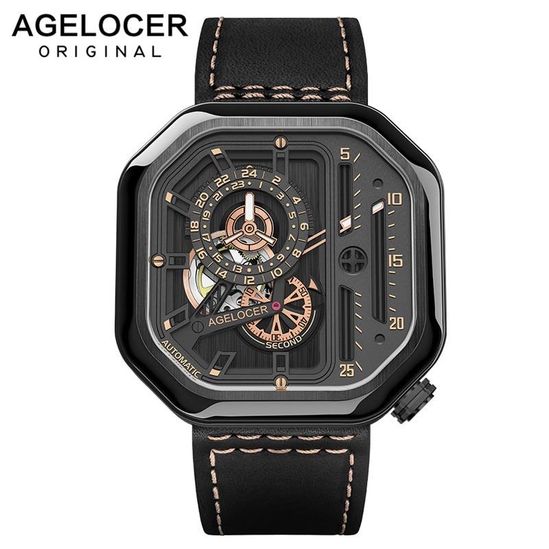 AGELOCER suisse Sport montres auto-vent automatique squelette montre acier étanche mécanique montre carré lumieux reloj hombre