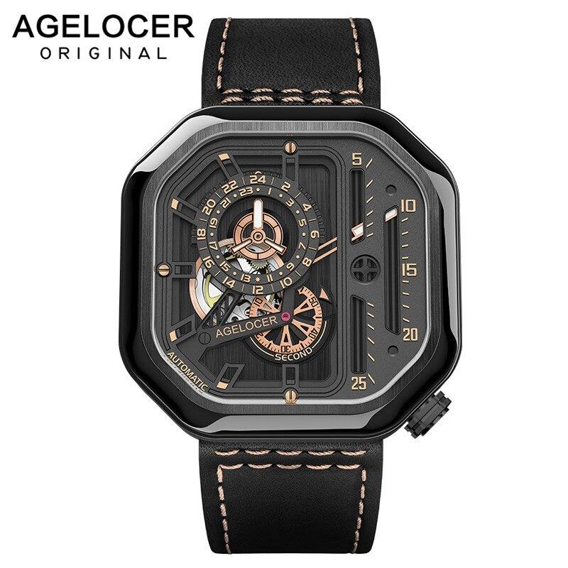 Reloj deportivo suizo AGELOCER auto-viento automático esqueleto reloj de acero impermeable mecánico reloj cuadrado lumioso hombre