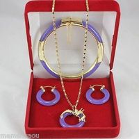 Hot Sell New Natural Purple Jade Fashion Fancy Bracelet Pendant Earring Top Grade Set AAA Style