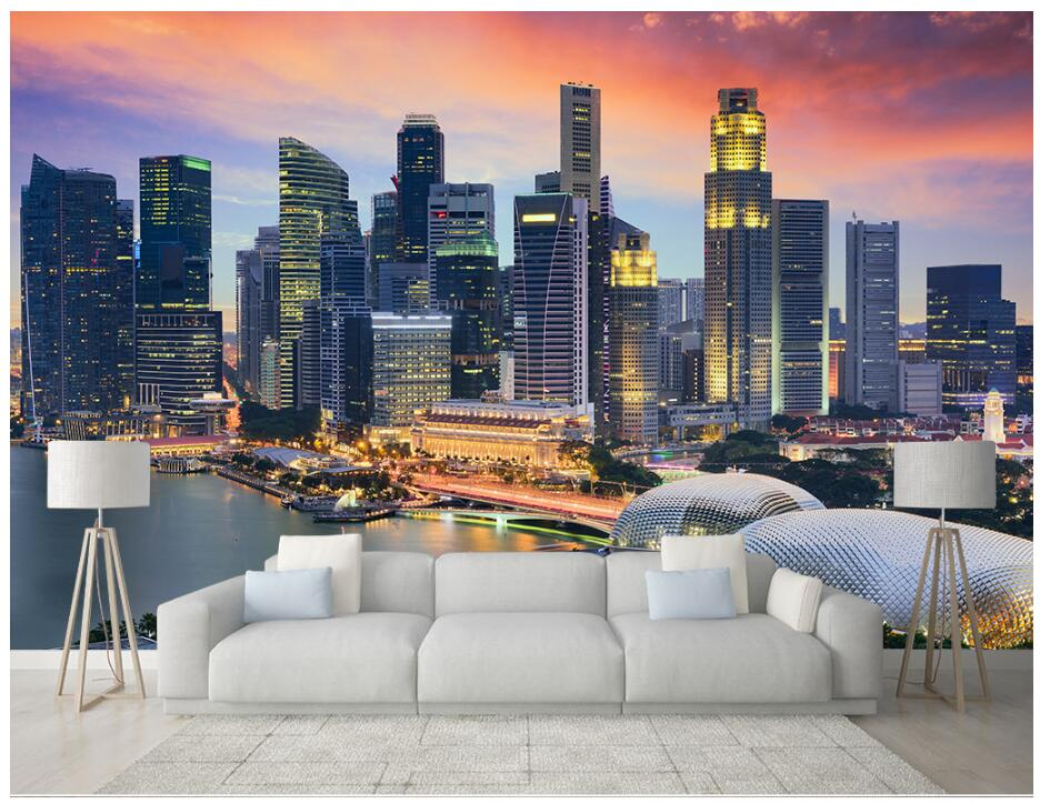 Custom Photo 3d Room Wallpaper Singapore City Busy At