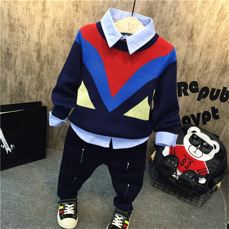 Retails Autumn Children's Clothing Sweaters Simple Knitted Pullover Children Long Sleeves Knitting Outwear Tops for Baby Boys pink knitting ripped details v neck long sleeves sweaters