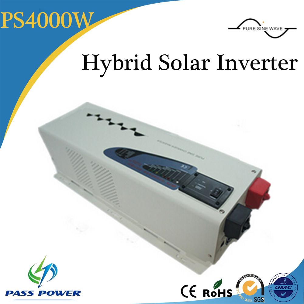 4000w off grid/hybrid solar Inverter with charger, pure sine wave solar inverter 24/48v dc/ac, 1 phase with CE wind solar hybrid dc to ac pure sine wave off grid solar inverter 48v 110v 4000w