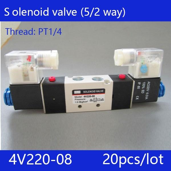 Free shipping 20pcs/lot good qualty 5 port 2 position Solenoid Valve 4V220-08,have DC24v,DC12V,AC24V,AC36V,AC110V,AC220V,AC380V 20pcs free shipping good quality 5 port 2 position solenoid valve 4v310 10quality have dc24v dc12v ac24v ac110v ac220v