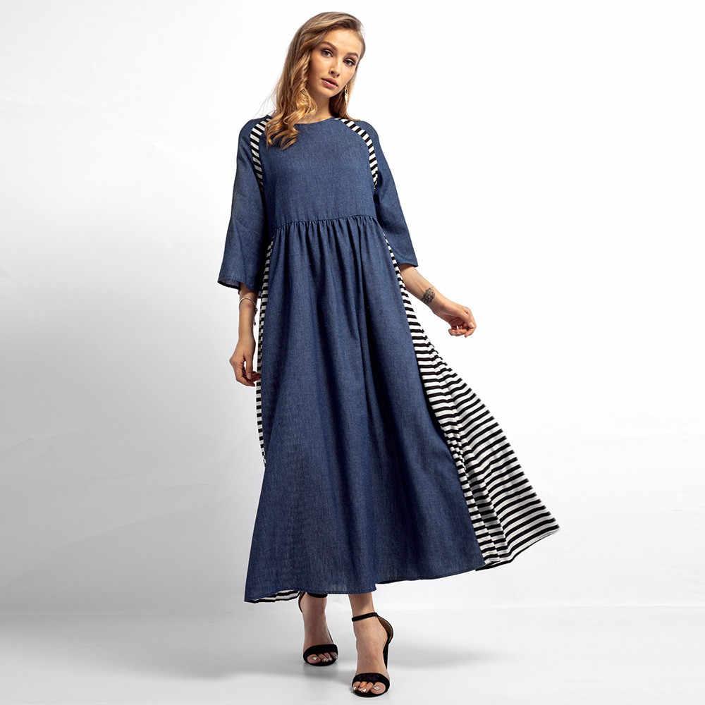 2018 Новое Полосатое джинсовое Длинное Платье женское Мусульманский Стиль; Ближний Восток макси свободные платья модный бренд свободное вечернее платье vestidos