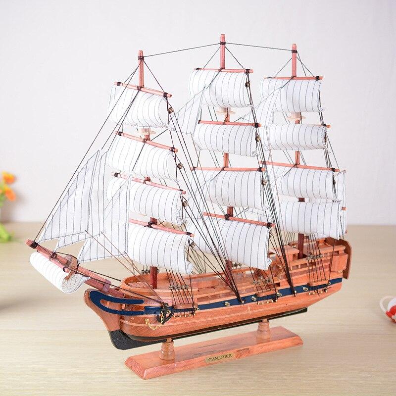 60CM Wood Sailing Ship Big Crafts Handmade Mediterranean Large Model Ship miniaturas Top Gift Home Decoration