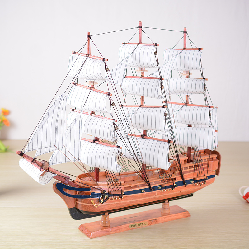 60CM Wood Sailing Ship Big Crafts Handmade Mediterranean Large Model Ship miniaturas Top Gift Home Decoration Accessories