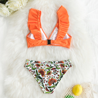 Vestido de baño bikini naranja volantes inferior floral 4
