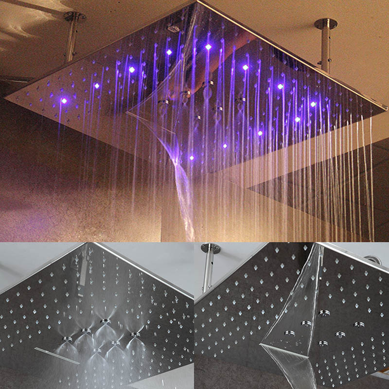 все цены на 3 jets Big Rain Shower LED Ceiling Shower Head Rainfall Waterfall SPA Mist Top Overhead 24 Inch Bathroom Showerhead Accessories онлайн