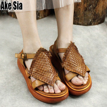 купить Summer Women Fashion Casual Open Peep Toe Wedge Heels Hollow Out Genuine Cow Leather Knit Woven Sandals Ankle Buckle Shoes A876 по цене 2691.98 рублей