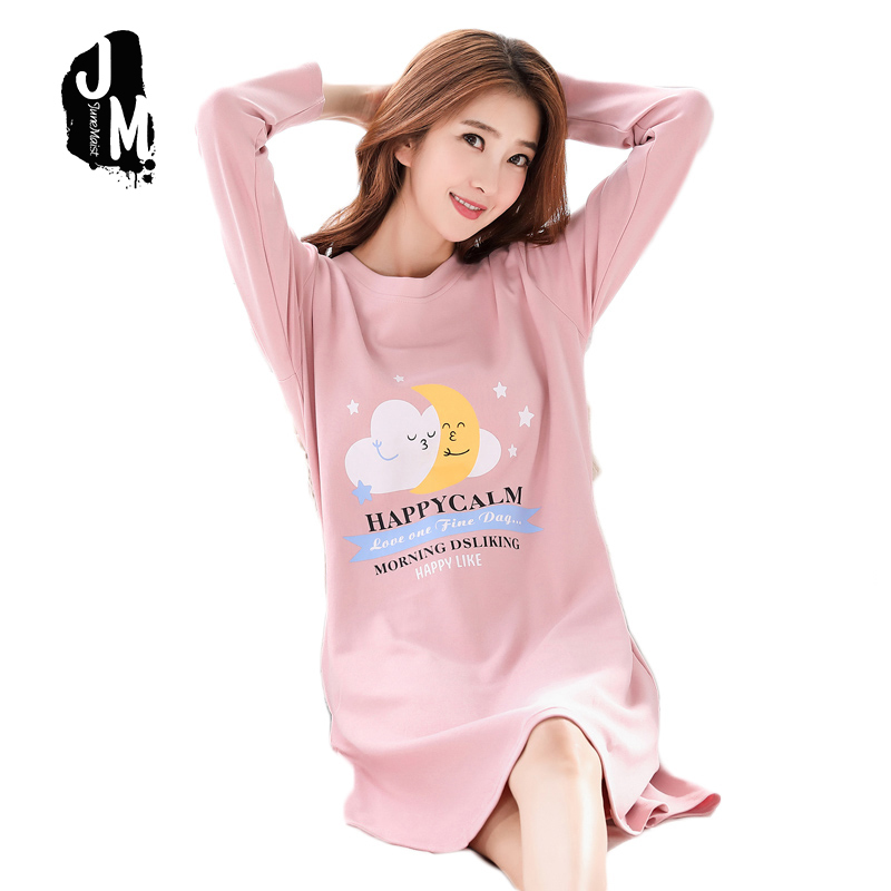 New Women Nightgown Sexy Lingerie Sweet Print Home Night Dress Long Sleeve Female Cotton Sleepwear Winter Pijamas Plus size XXXL