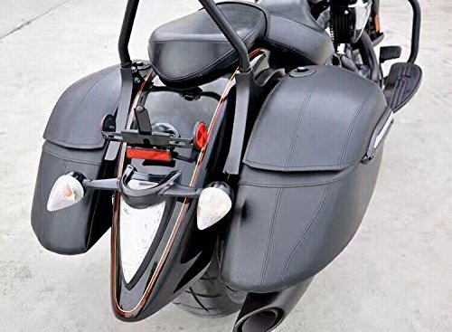 Motorbike Black Hard Saddle Bag Saddlebags Luggage Trunk Case Box For HD Harley Fat Boy Fatboy Softail Deluxe FLSTN Road King