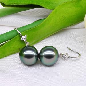 Image 4 - YS 18K Solid Gold Earring 8 9mm Black Tahitian Pearl Drop Earrings Wedding Fine Jewelry