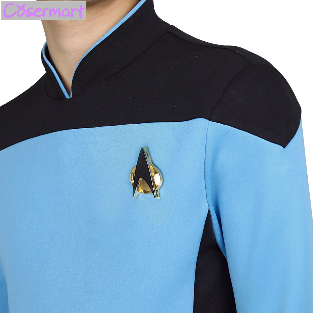 Star Trek TNG The Next Generation Red Yellow Blue Shirt Uniform Cosplay Costume For Men Coat Halloween Party (7)