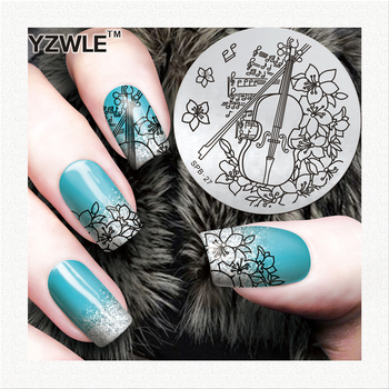 Guitar/Flowers Hot Design Stamping Image Plate Print Nail Art Template DIY Decoration For Beauty Nail Tools image