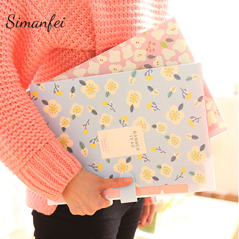 Simanfei File Folder 2017 Documents Storage Bag A4 Paper Organizer Portable Students Big Capacity Briefcase Fresh Flowers Print ...