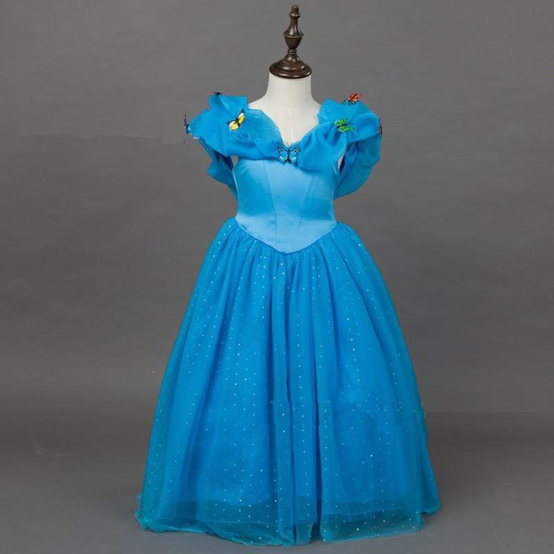Blue Princess Cinderella Costume Halloween Fancy Dress Girls Kids Child S M L