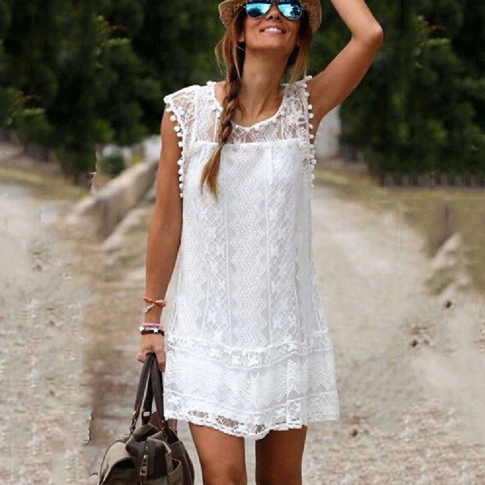 2018 Women summer dress white lace Casual  Sleeveless Beach Short O-Neck Straight Dress Tassel Mini lady Dress Dress Vestidos