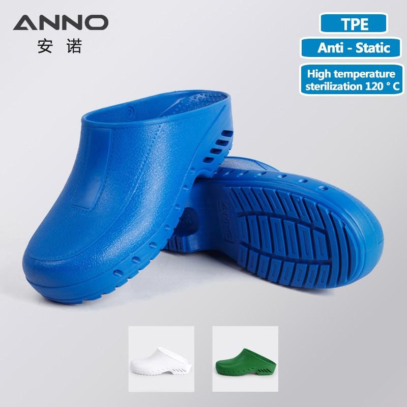 ANNO ป้องกันไฟฟ้าสถิตทางการแพทย์อุดตัน TPE โรงพยาบาลพยาบาลรองเท้าสวมทนป้องกันไฟฟ้าสถิตทำงานอุดตันสำหรับผู้ชายผู้หญิงรองเท้าผ่าตัด